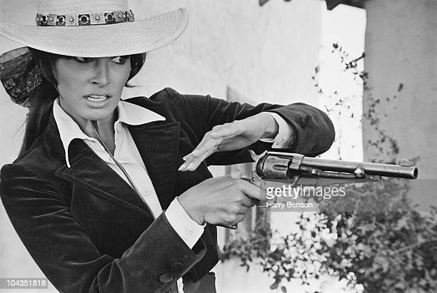 American actress Raquel Welch as Maria Stoner in the western 'Bandolero' directed by Andrew V McLaglen at the Alamo Village Texas 7th November 1967