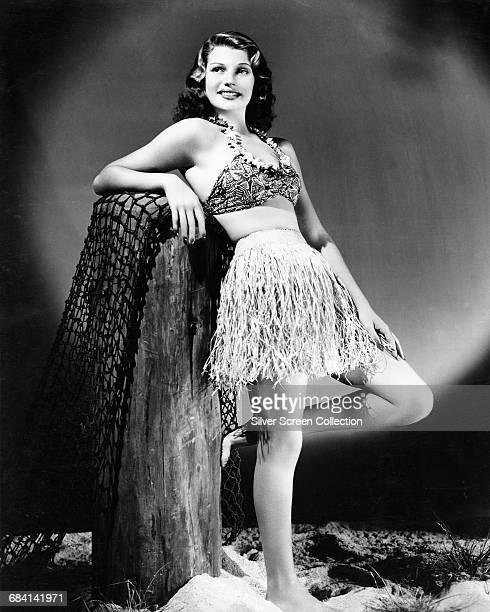 American actress Rita Hayworth wearing a grass skirt 1939