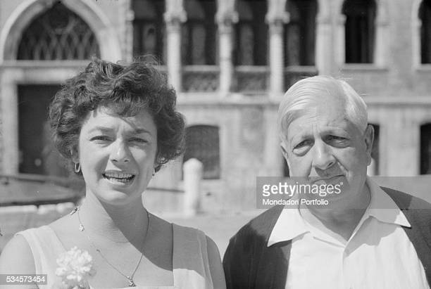 American actress Ruth Roman with Italian painter Giorgio de Chirico during the XVIII Venice International Film Festival Venice 1957