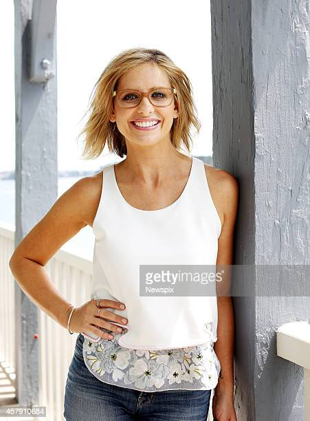 American actress Sarah Michelle Gellar poses during a photo shoot on October 22 2014 in Sydney Australia Gellar is in Australia to promote Specsavers