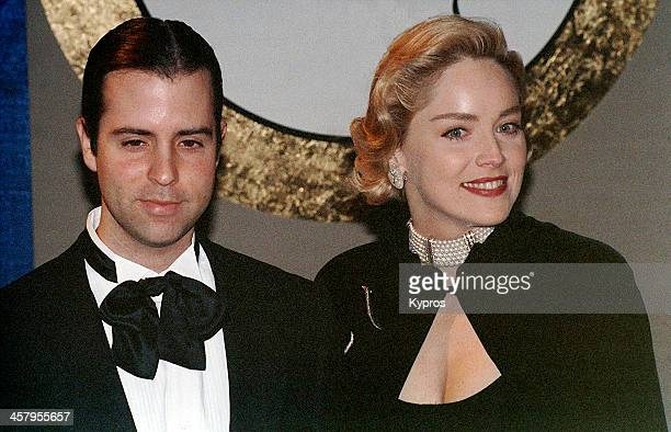 American actress Sharon Stone with music producer Chris Peters at the 50th Annual Golden Globe Awards Beverly Hills California 23rd January 1993