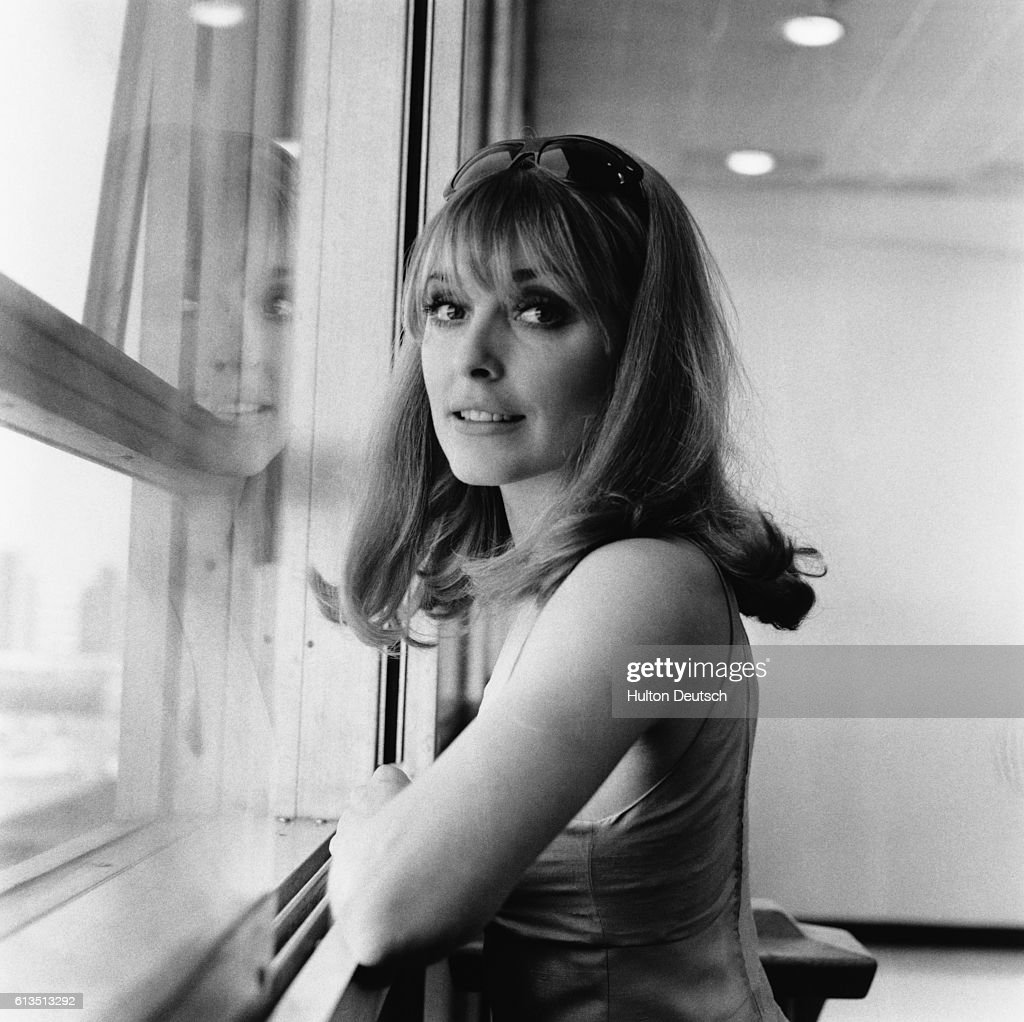 American actress Sharon Tate, at London Airport in 1966. She was murdered by Charles Manson in California, 1969.