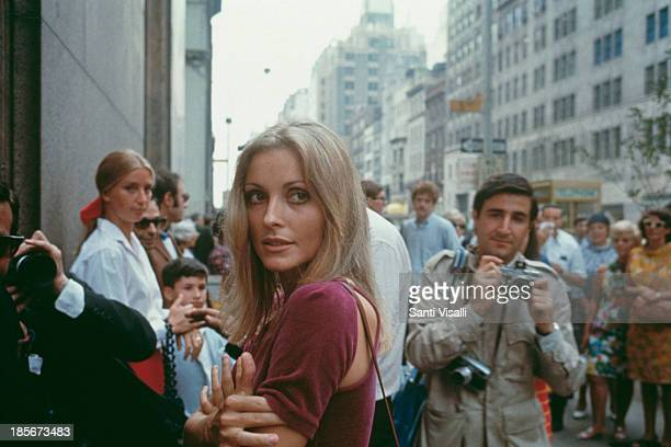 American actress Sharon Tate visiting the set of her husband Roman Polanski's film 'Rosemary's Baby' New York City August 1967