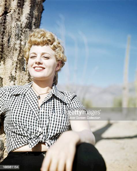 American actress Shelley Winters in a desert location circa 1950