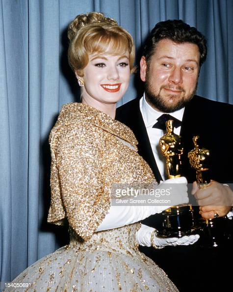 American actress Shirley Jones and English actor Peter Ustinov with their oscars at the 33rd Academy Awards Santa Monica California 17th April 1961...