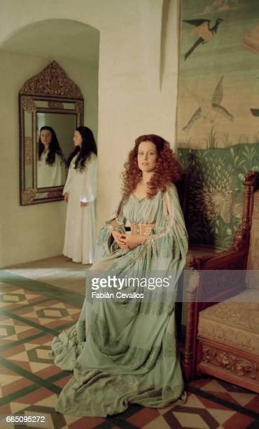 American actress Sigourney Weaver and Monica Keena on the set of the film 'Snow White A Tale of Terror' directed by Michael Cohn and based on Jacob...