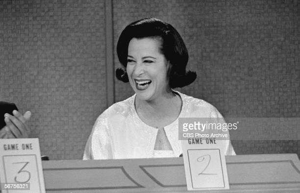 American actress socialite and television personality Kitty Carlisle appears as a panelist on the game show 'To Tell the Truth' Los Angeles...