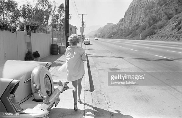 American actress Tuesday Weld walks along a street during the production of her film 'Soldier in the Rain' Fort Ord California 1963