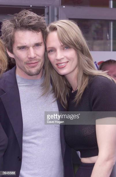 American actress Uma Thurman and actor Ethan Hawke attend the 'Chelsea Walls' photocall on May 16 2001 in Cannes