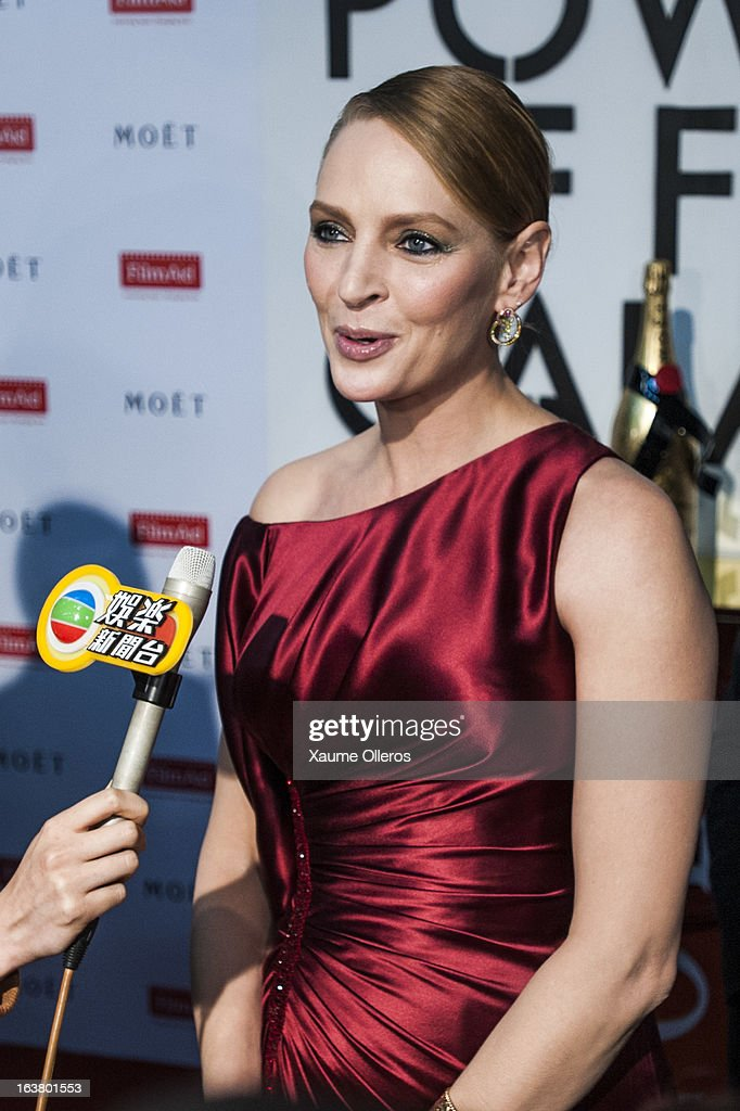 American actress <a gi-track='captionPersonalityLinkClicked' href=/galleries/search?phrase=Uma+Thurman&family=editorial&specificpeople=171973 ng-click='$event.stopPropagation()'>Uma Thurman</a> attends at the Moet & Chandon and FilmAid Asia Power of Film Gala at Clear Water Bay Film Studios on March 16, 2013 in Hong Kong, Hong Kong.