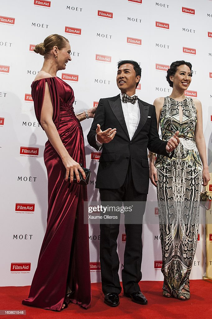American actress <a gi-track='captionPersonalityLinkClicked' href=/galleries/search?phrase=Uma+Thurman&family=editorial&specificpeople=171973 ng-click='$event.stopPropagation()'>Uma Thurman</a> (L), Hong Kong actor Donnie Yin (C) and Cissy Wang (R) attend at the Moet & Chandon and FilmAid Asia Power of Film Gala at Clear Water Bay Film Studios on March 16, 2013 in Hong Kong, Hong Kong.