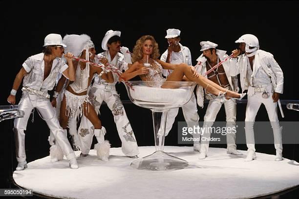 American actress Valerie Perrine surrounded by members of the American disco band Village People David Hodo Felipe Rose Randy Jones Alex Briley Ray...