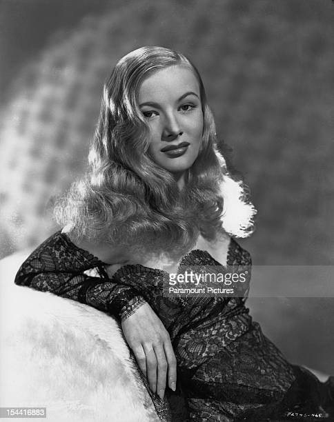 American actress Veronica Lake in a black lace dress 1942