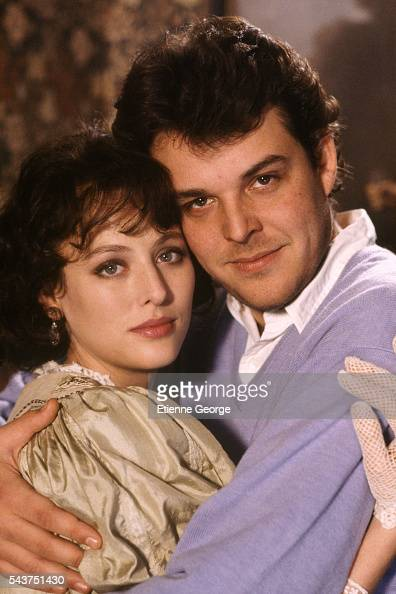 American actress Virginia Madsen and her husband American director Danny Huston on the set of his film 'Becoming Colette'