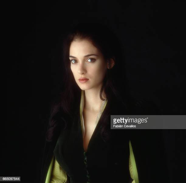 American actress Winona Ryder on the set of 'Dracula', directed by American director Francis Ford Coppola and based Bram Stoker's (1847-1912) novel by the same title. The film won three 1993 Oscars, Best Costume Design, Best Sound Effects Editing and Best Makeup.