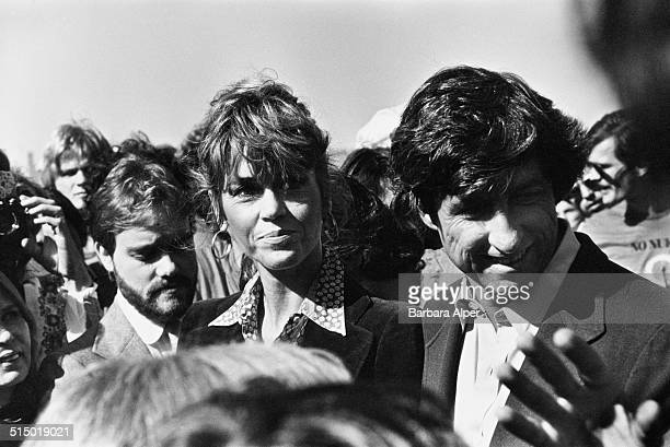 American actress writer and political activist Jane Fonda and her husband American social and political activist author and politician Tom Hayden at...
