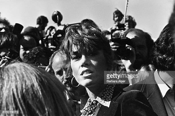 American actress writer and political activist Jane Fonda at an antinuclear weapons demonstration in New York City USA 23rd September 1979