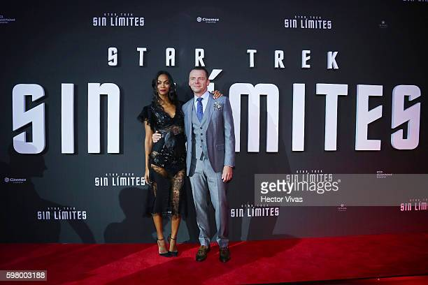 American actress Zoe Saldana and English actor Simon Pegg pose during the Mexican Premier of 'Star Trek Beyond' at Cinemex Antara on August 30 2016...
