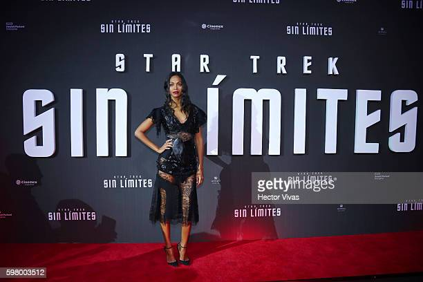 American actress Zoe Saldana poses during the Mexican premier of 'Star Trek Beyond' at Cinemex Antara on August 30 2016 in Mexico City Mexico