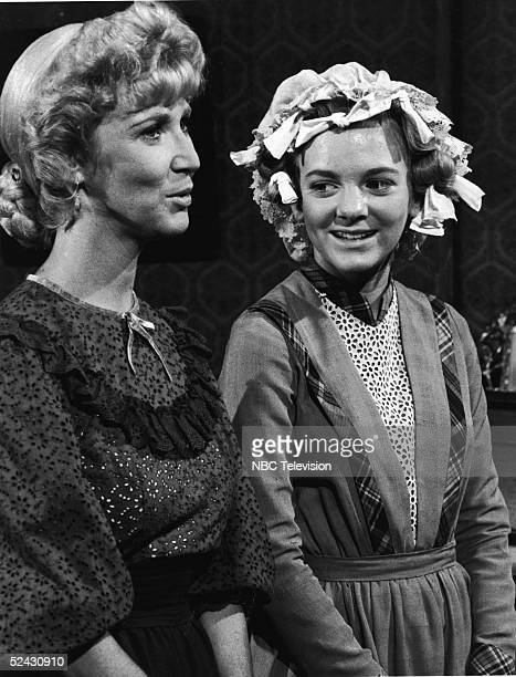 American actresses Charlotte Stewart and Alison Arngrim in a scene from the episode of the television series 'Little House on the Prairie' titled...