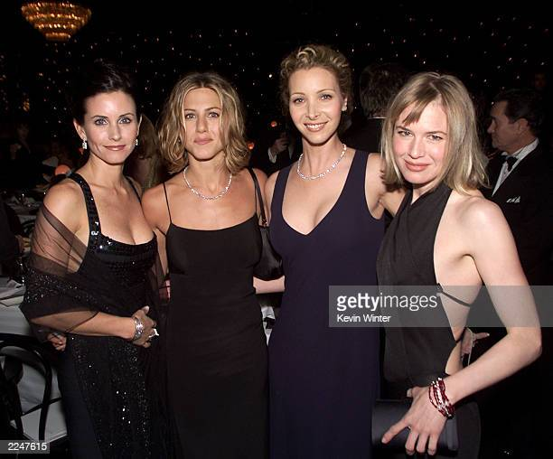 American actresses Courteney Cox Jennifer Aniston Lisa Kudrow and Renee Zellweger at 'The 10th Annual Fire Ice Ball' a gala event hosted by Lilly...