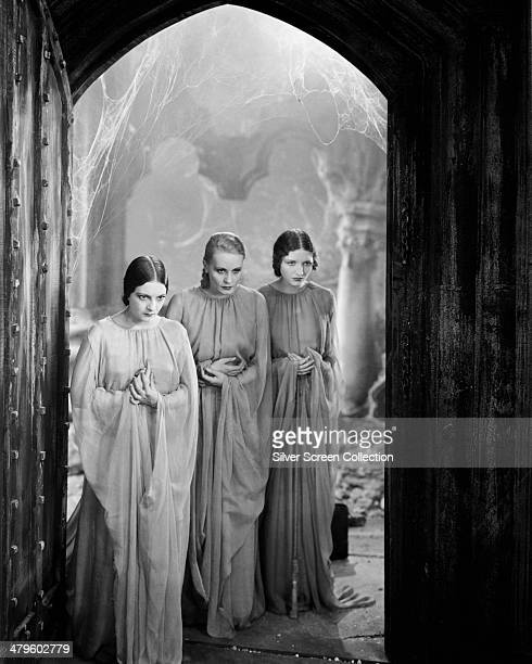 American actresses Dorothy Tree Geraldine Dvorak and Cornelia Thaw as Dracula's vampire brides in 'Dracula' directed by Tod Browning 1931