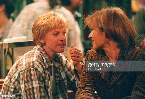 American actresses Ellen Degeneres and Carrie Fisher perform in a scene from an episode of the television show 'Ellen' at Disney Studios Burbank...