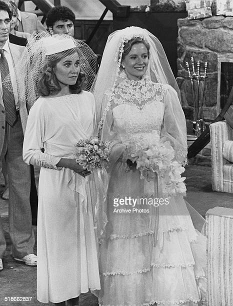 American actresses Maureen McCormick as Marcia Brady and Eve Plumb as Jan Brady in a scene from the TV movie 'The Brady Girls Get Married' 1981