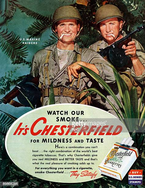 American advertisement for Chesterfield cigarettes showing 2 US marine raiders from american magazine McCall's 1943