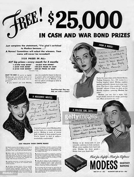 American advertisement for sanitary napkins Modess asking for testimonies who will win prizes from american magazine McCall's 1943