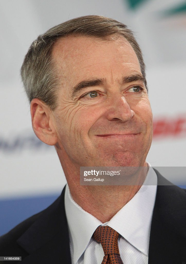 American Airlines CEO Tom Horton attends the official signing of a document confirming Air Berlin's acceptance into the oneworld alliance at Berlin Brandenburg Airport on March 20, 2012 in Berlin, Germany. Air Berlin joins 10 other international airlines in the alliance.
