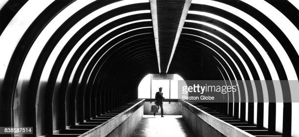 American Airlines pilot Neal Dolan heads toward the central parking garage at Logan Airport in Boston after flying in from Dallas circa 1987