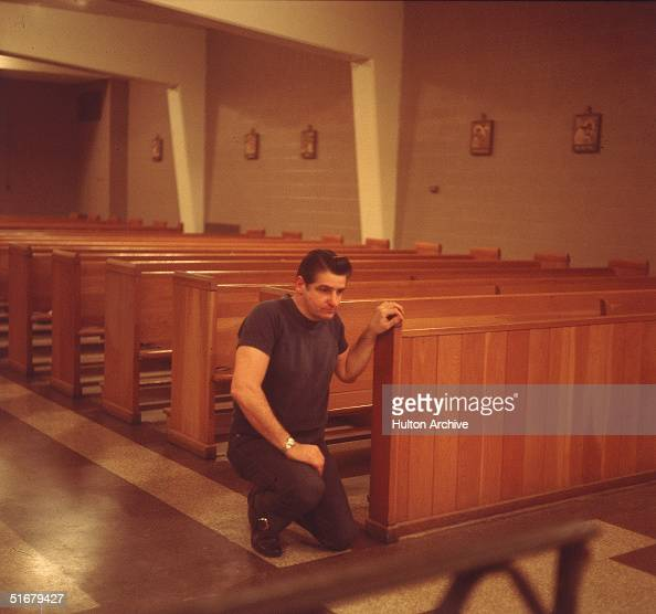 American Albert DeSalvo prays in the chapel at Walpole State Prison South Walpole Massachusetts early 1970s DeSalvo is the alleged Boston Strangler a...