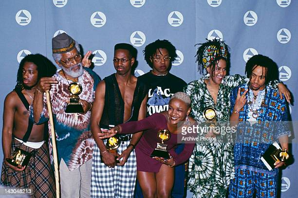 American alternative hip hop group Arrested Development at the 35th Annual Grammy Awards at the Shrine Auditorium in Los Angeles California United...