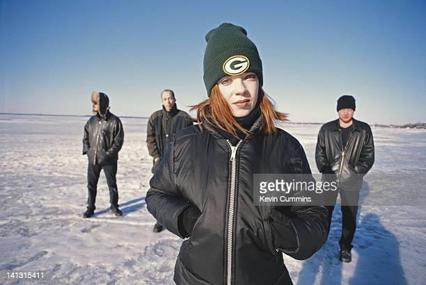 American alternative rock band Garbage USA 2001 Left to right drummer/producer Butch Vig guitarist Duke Erikson singer Shirley Manson and guitarist...