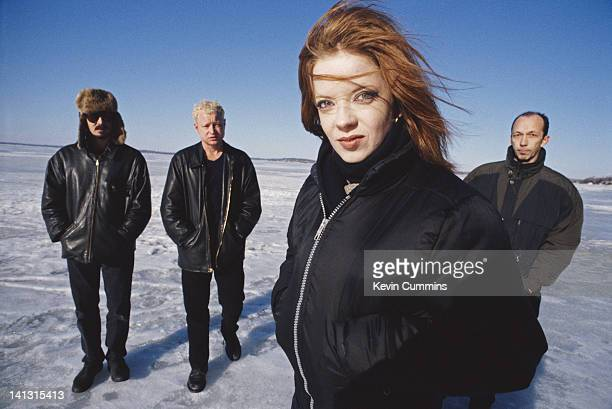 American alternative rock band Garbage USA 2001 Left to right drummer/producer Butch Vig guitarist Steve Marker singer Shirley Manson and guitarist...