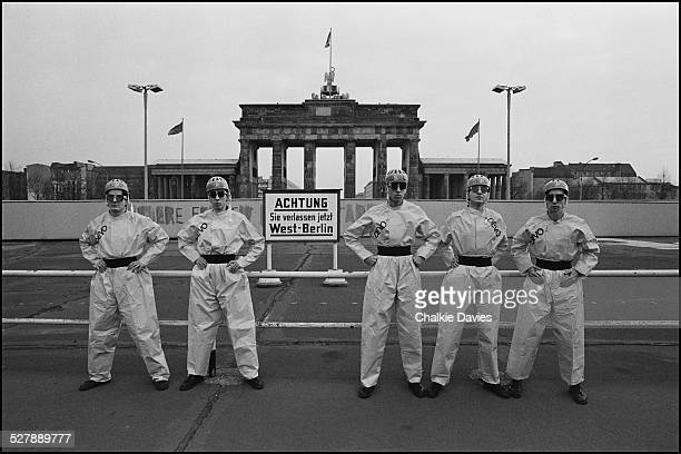 American alternative rock group Devo opposite the Brandenburg Gate at the Berlin Wall 1978