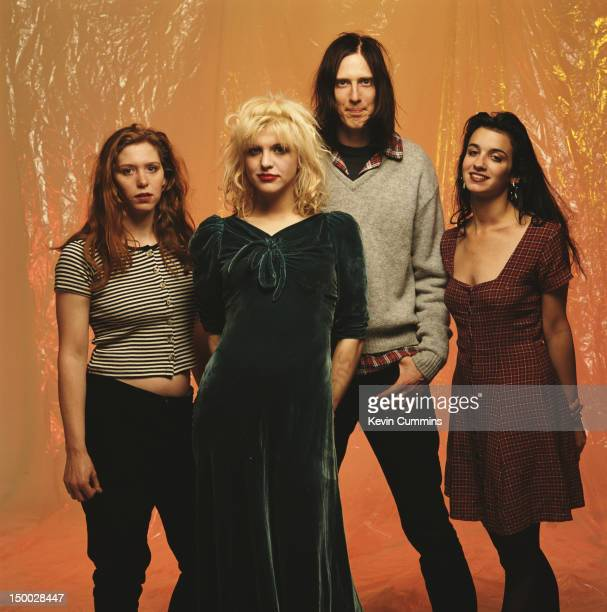 American alternative rock group Hole March 1993 Left to right drummer Patty Schemel singer Courtney Love guitarist Eric Erlandson and bassist Kristen...