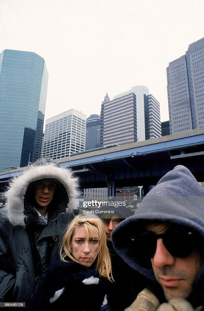 American alternative rock group Sonic Youth, New York City, 26th February 1989. Left to right: singer/guitarists Thurston Moore and Kim Gordon, drummer Steve Shelley and singer/guitarist Lee Ranaldo.