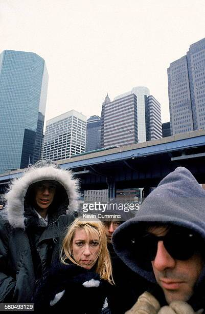 American alternative rock group Sonic Youth New York City 26th February 1989 Left to right singer/guitarists Thurston Moore and Kim Gordon drummer...