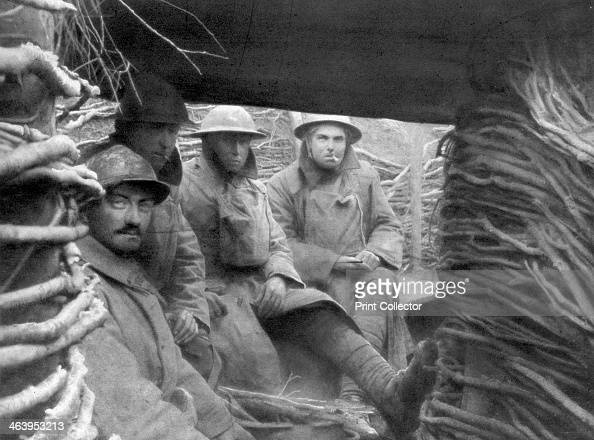 American and French troops in a trench at the front 19171918
