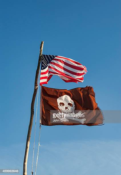 American and pirate flag