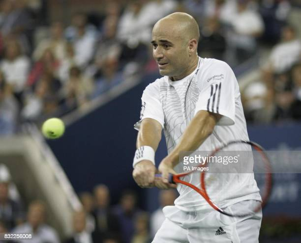 American Andre Agassi in action during his first round match against Andrei Pavel during the US Open at Flushing Meadow New York After the tournament...