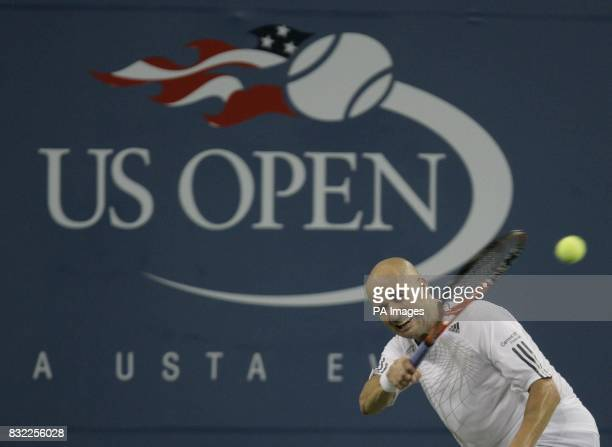 American Andre Agassi in action during his first round match against Andrei Pavel in the US Open at Flushing Meadow New York After the tournament he...