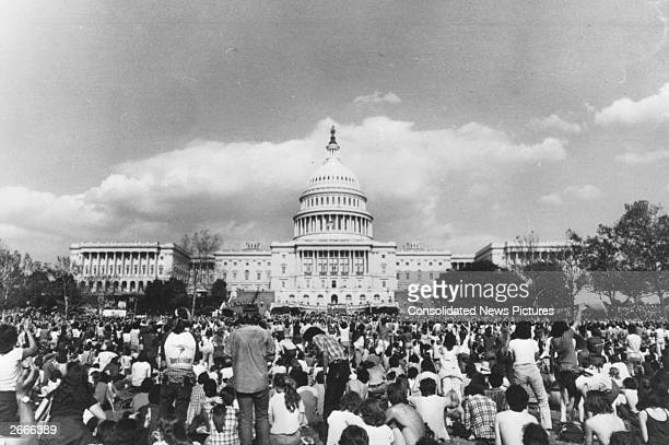 American antinuclear demonstrators on Capitol Hill Washington protesting against the United States' use of nuclear energy