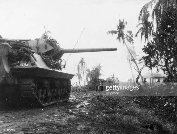 American Army tanks of the 77th Division proceed through northwest Leyte Island in the Philippines