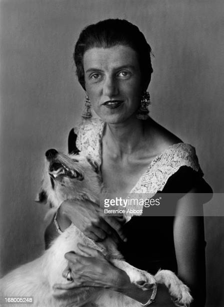 American art collector and socialite Peggy Guggenheim with a small dog 1926