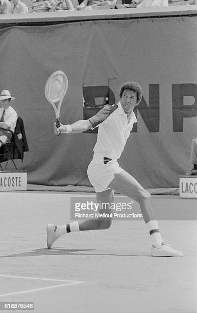 American Arthur Ashe competes in the 1976 Roland Garros French Open He won the Wimbledon championship the previous year