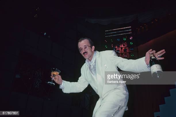 American artist and social activist Keith Haring at his 2nd annual 'Party of Life' at the Palladium New York City 22nd January 1985