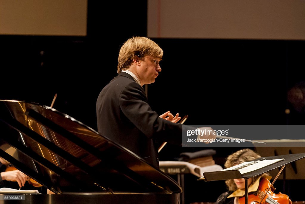 American artistic director George Steel conducts the Gotham Sinfonietta during the inaugural concert of the 'Pocket Concertos Year One' series at...